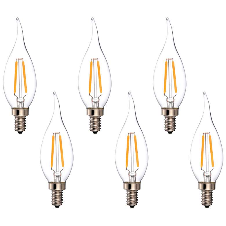 25W Equivalent Clear 2W LED Dimmable Candelabra Flame 6-Pack