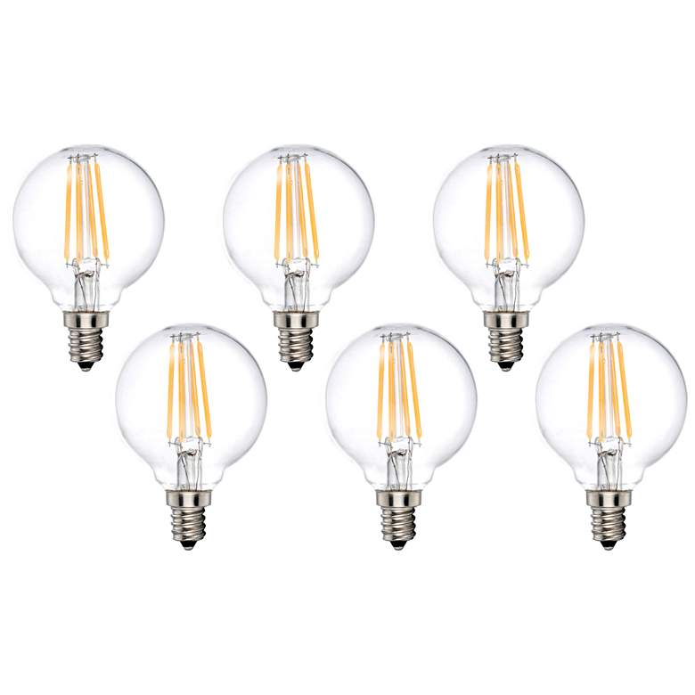 40W Equivalent Clear 4W LED Dimmable Candelabra G16.5 6-Pack