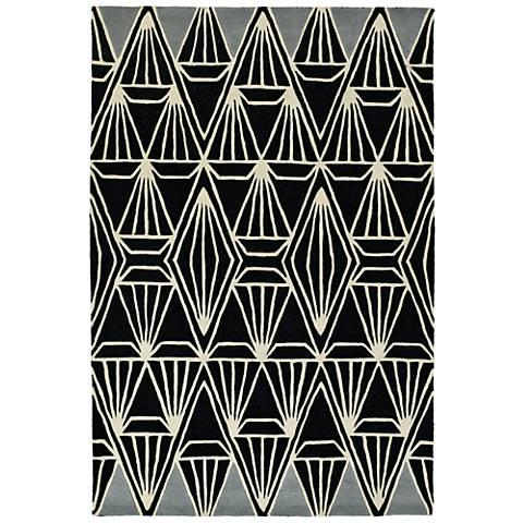 Kaleen Origami ORG01-02 Black Wool Area Rug