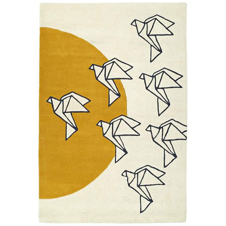 "Kaleen Origami ORG02-01 5'x7'6"" Ivory Wool Area Rug"