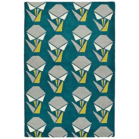 Kaleen Origami ORG06-91 Teal Wool Area Rug
