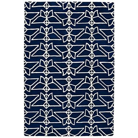 Kaleen Origami ORG07-22 Navy Wool Area Rug
