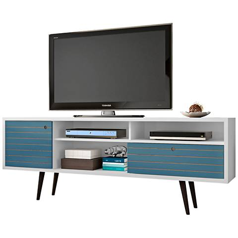 Liberty White and Aqua Blue Wood 1-Drawer TV Stand