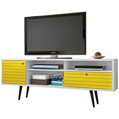 Liberty White and Yellow Wood 1-Drawer TV Stand