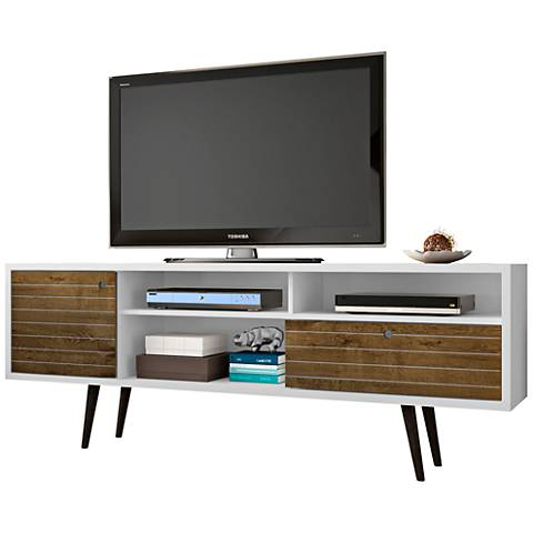 Liberty White and Rustic Brown Wood 1-Drawer TV Stand