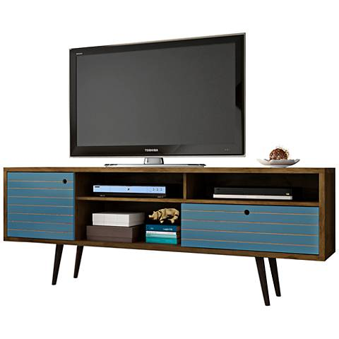 Liberty Rustic Brown and Aqua Blue Wood 1-Drawer TV Stand