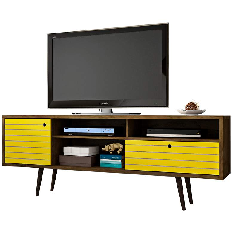 """Liberty 70 3/4"""" Wide Rustic Wood and Yellow Modern TV Stand"""