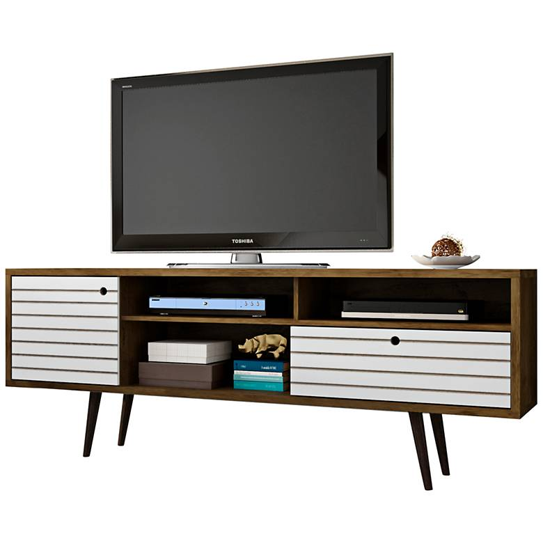 "Liberty 70 3/4"" Wide Rustic Wood and White Modern TV Stand"
