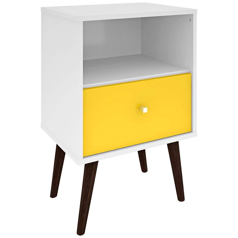 """Liberty 17 3/4"""" Wide White-Yellow Modern Nightstand"""