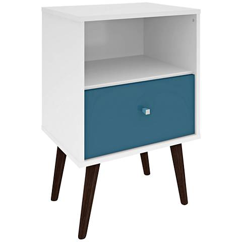 Liberty White and Aqua Blue Wood 1-Drawer Nightstand