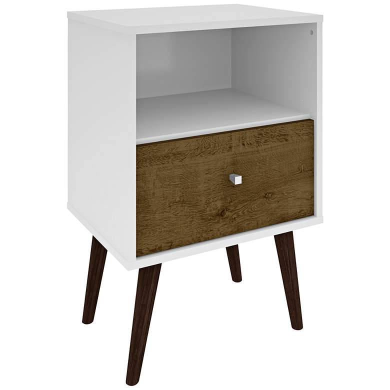"""Liberty 17 3/4"""" Wide Rustic Wood and White Modern Nightstand"""