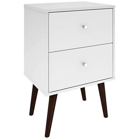 Liberty White Gloss Wood 2-Drawer Nightstand