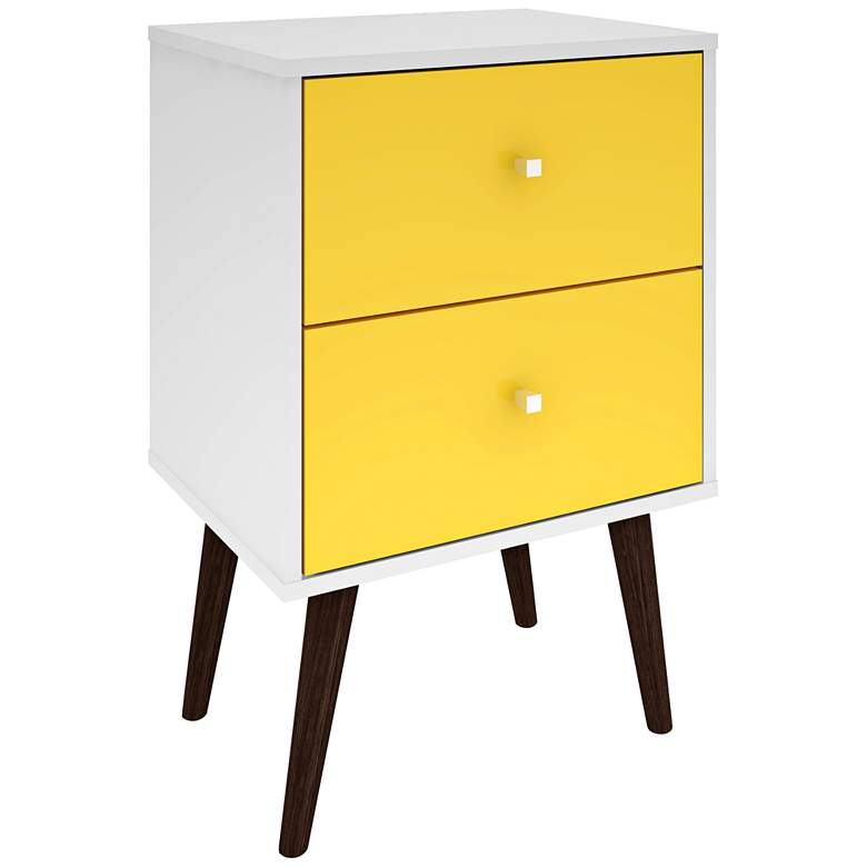 "Liberty 17 3/4"" Wide Yellow 2-Drawer Modern Nightstand"