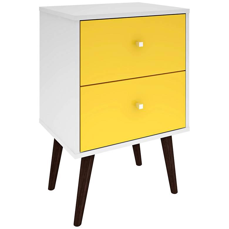"Liberty 17 3/4"" Wide Yellow 2-Drawer Modern Nightstand"