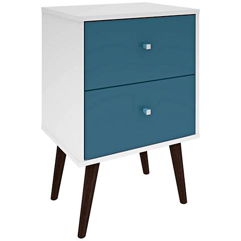 Liberty White And Aqua Blue Wood 2 Drawer Nightstand by Lamps Plus