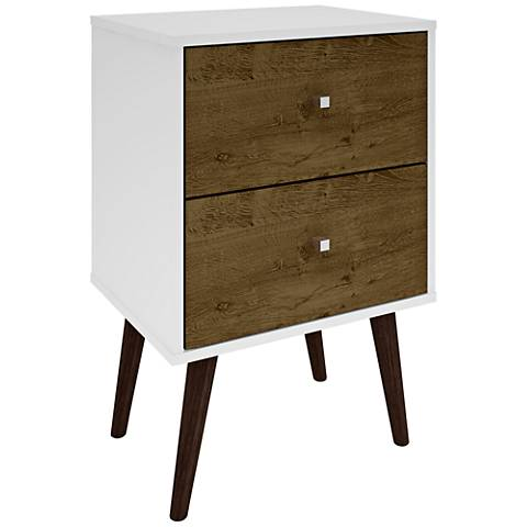Liberty White and Rustic Brown Wood 2-Drawer Nightstand