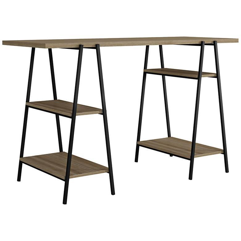"Ellis 53 1/4"" Wide Dark Oak and Black Trestle Table Desk"