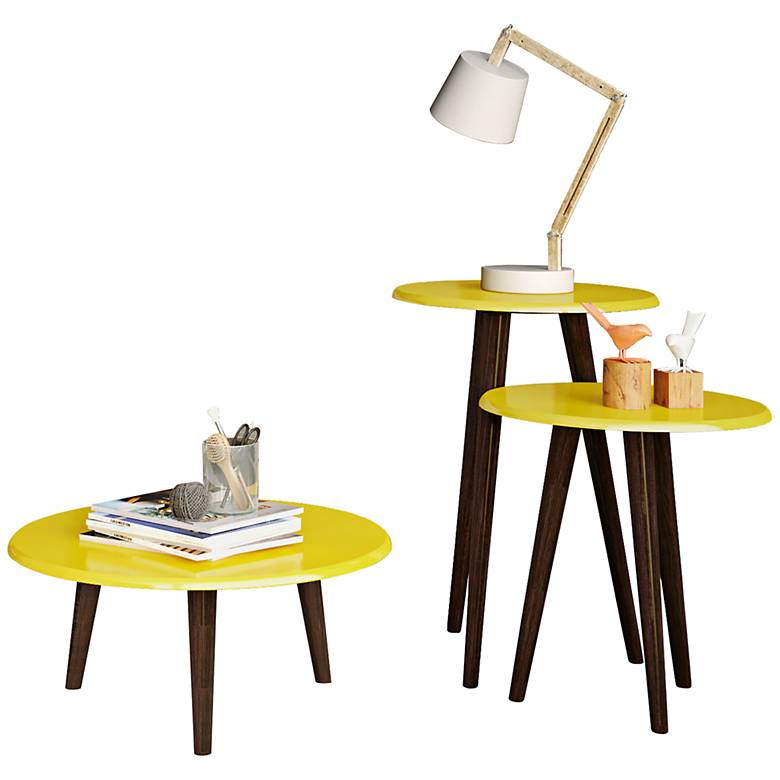 Carmine Yellow Gloss 3-Piece Round End Table Set