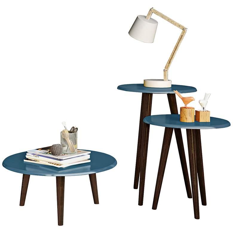 Carmine Aqua Blue Gloss 3-Piece Round End Table Set