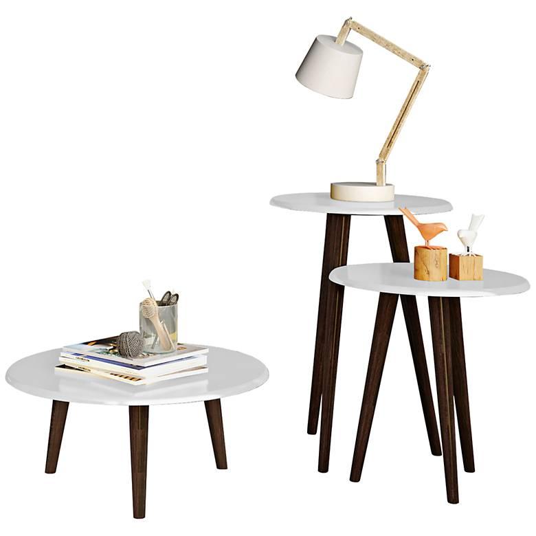 Carmine White Gloss Modern Round End Tables 3-Piece Set