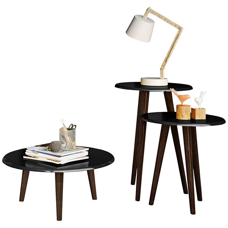 Carmine Black Gloss 3-Piece Round End Table Set