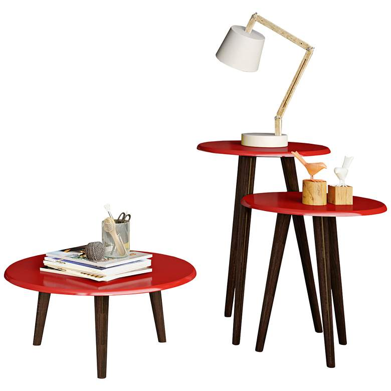Carmine Red Gloss 3-Piece Round End Table Set