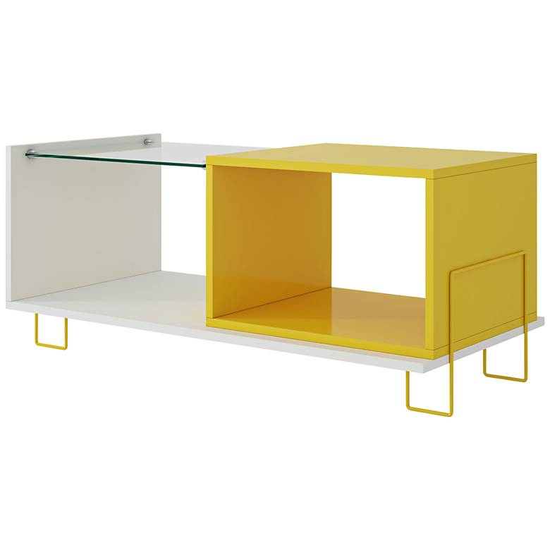"Boden 35 1/2"" wide White and Yellow Wood Modern End Table"