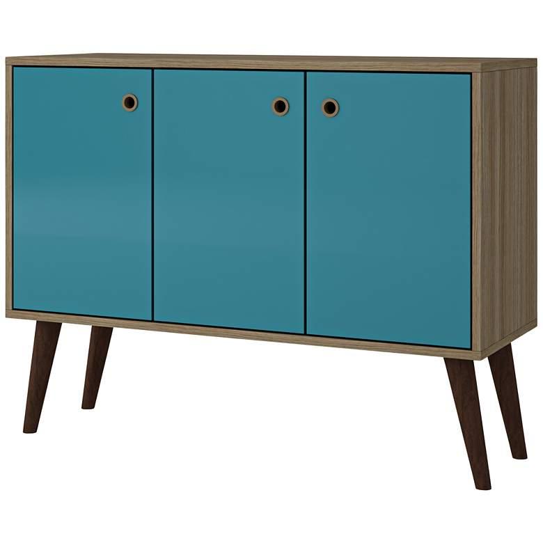 "Bromma 35 1/2"" Wide Oak and Aqua Blue Modern Buffet"