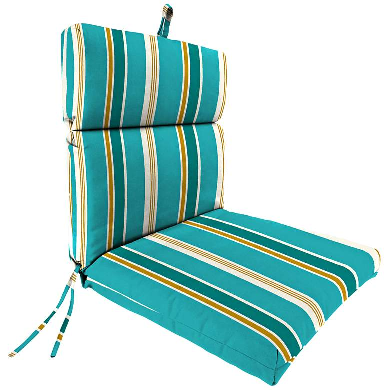 Heatwave Stripe Turquoise French Edge Outdoor Chair Cushion