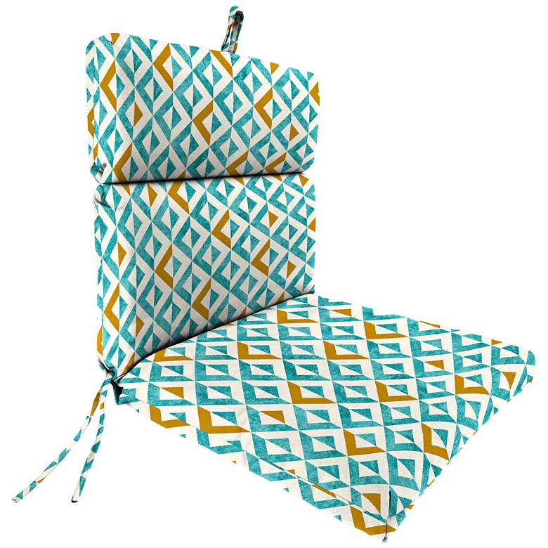 Tropez Turquoise French Edge Outdoor Chair Cushion