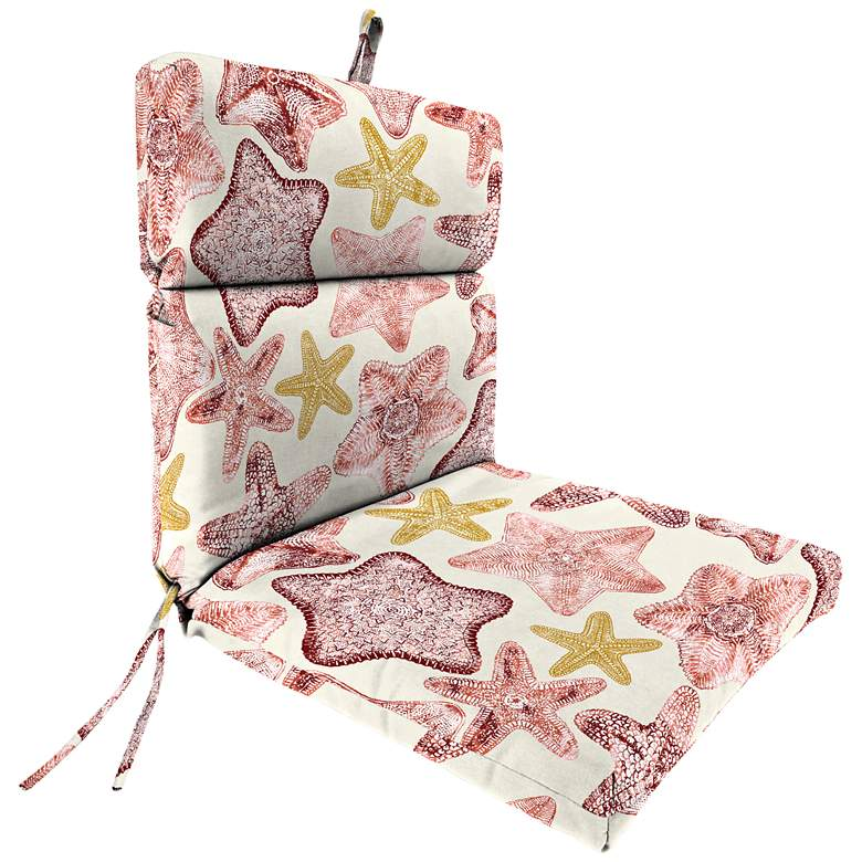 Seabiscuit Coral French Edge Outdoor Chair Cushion