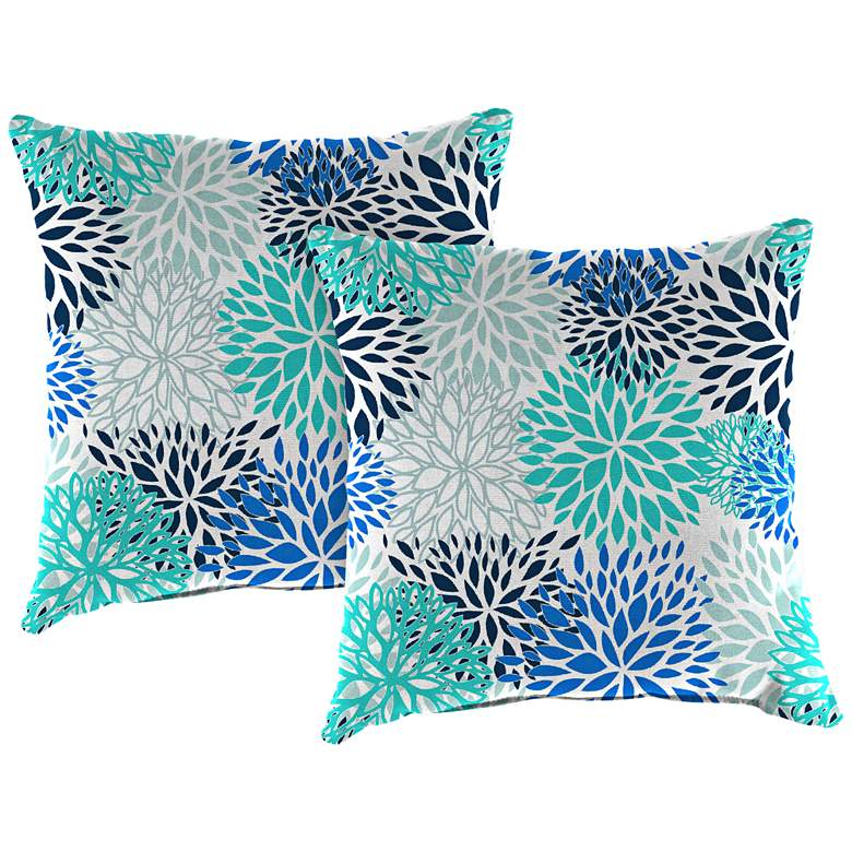 "Blooms Blue Vista 18"" Square Outdoor Toss Pillow"