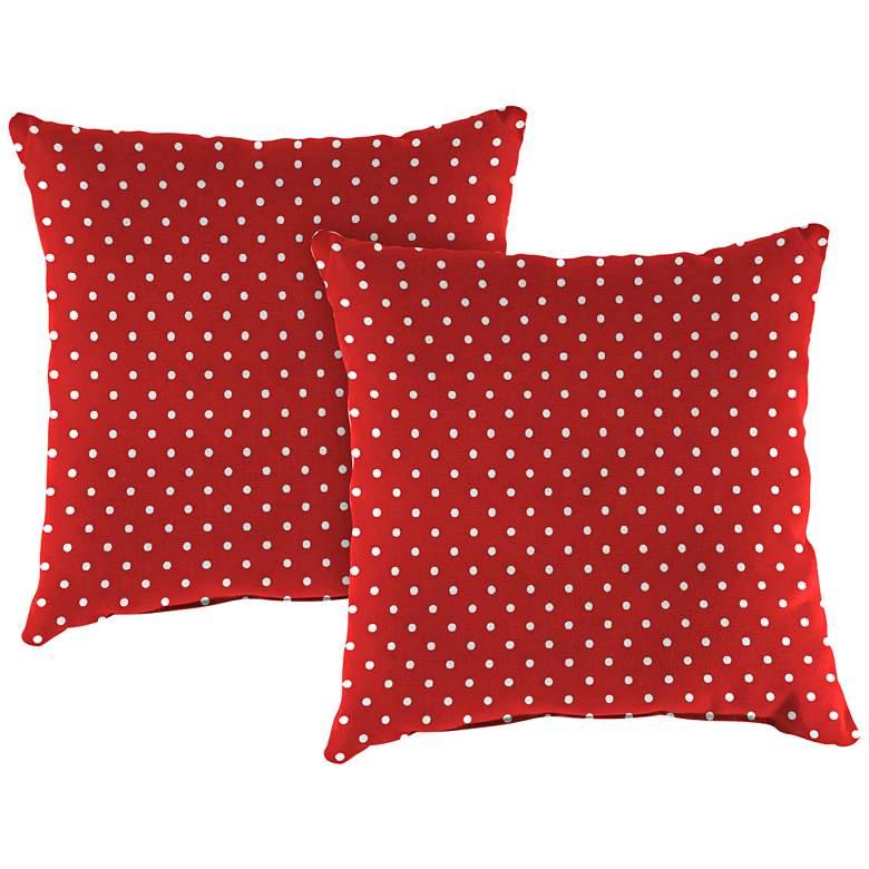 "Mini Dots Rojo 18"" Square Outdoor Toss Pillow Set of 2"
