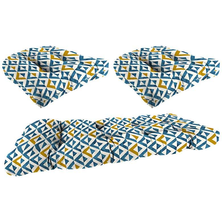 Tropez Cobalt 3-Piece Outdoor Wicker Seat Cushion Set