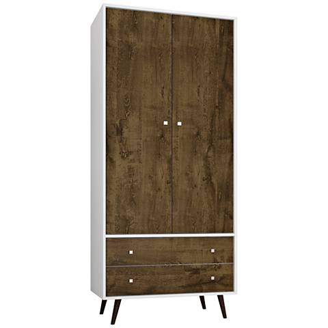 Liberty White and Rustic Brown 2-Door Armoire