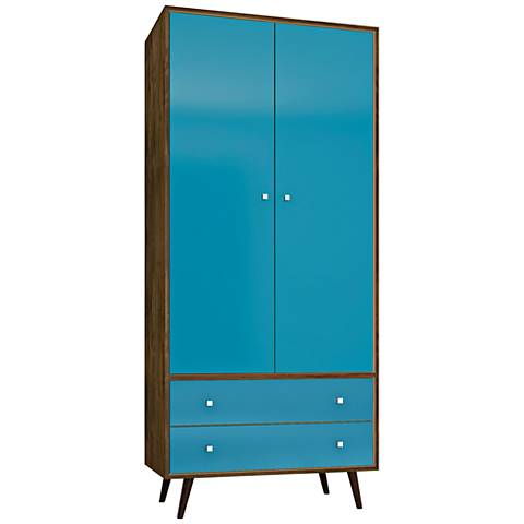 Liberty Rustic Brown and Aqua Blue 2-Door Armoire