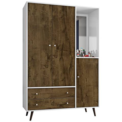 Liberty White and Rustic Brown 3-Door Armoire with Mirror