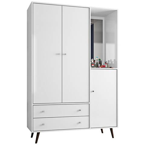 Liberty White Gloss 3-Door Armoire with Mirror