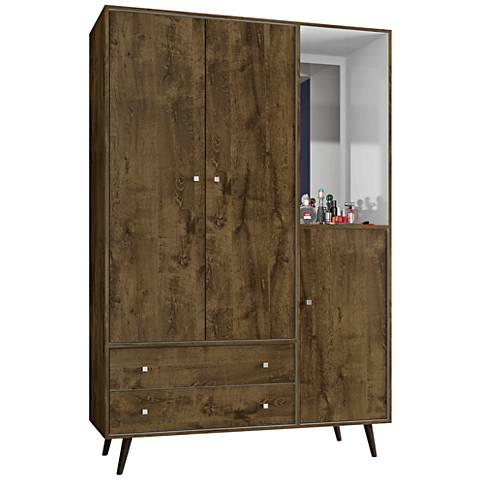 Liberty Rustic Brown 3-Door Armoire with Mirror