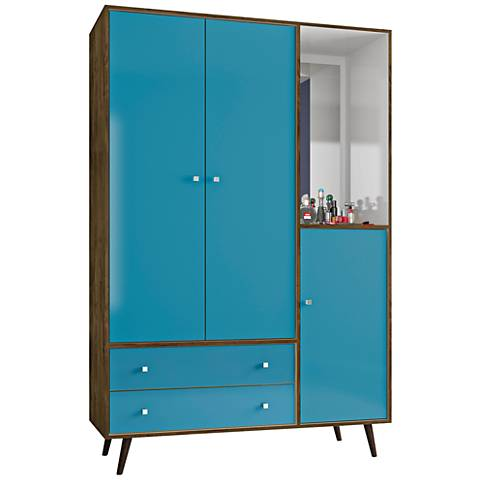 Liberty Rustic Brown and Blue 3-Door Armoire w/ Mirror