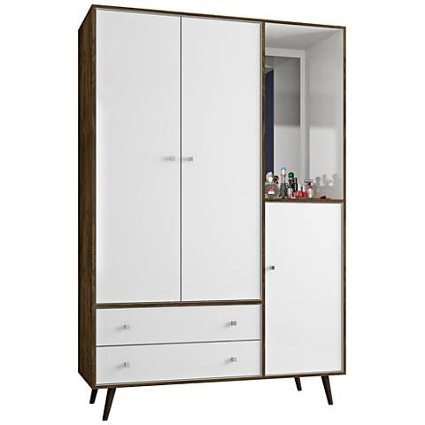 Liberty Rustic Brown and White 3-Door Armoire with Mirror