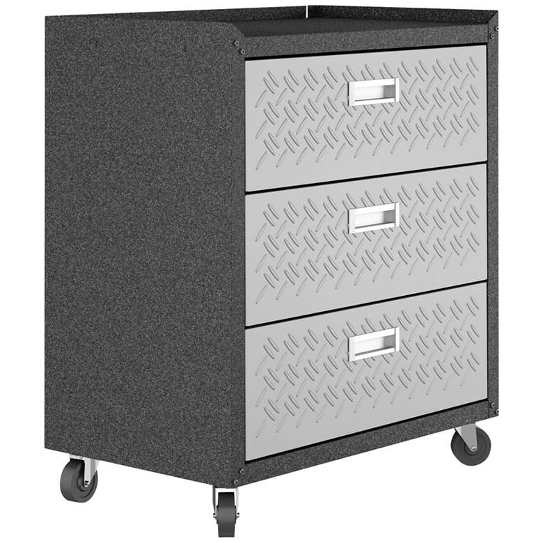 Fortress Gray Textured Metal 3-Drawer Garage Mobile Chest