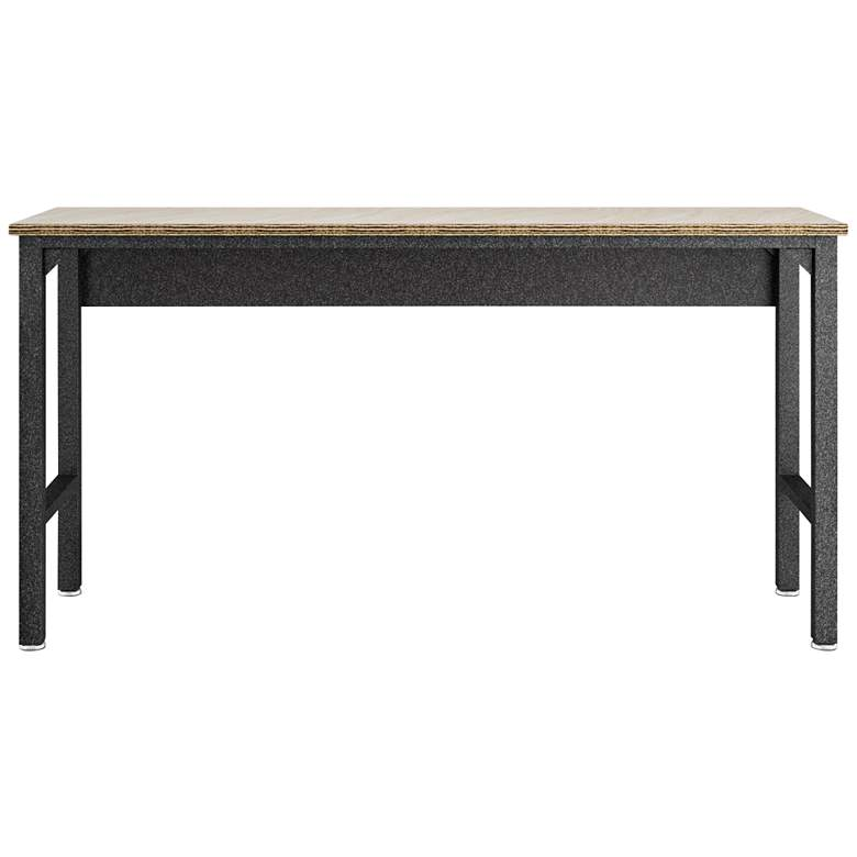 """Fortress 72 1/2"""" Natural Wood and Gray Steel Garage Table"""