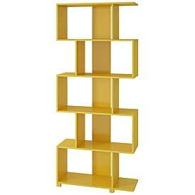 Petrolina Yellow Gloss 5 Z Shelf Bookcase