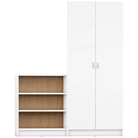 Greenwich Trente White and Maple Cream 2-Door Wide Bookcase