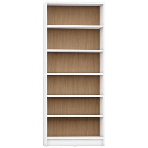 Greenwich Trente White w/ Maple Cream 6-Shelf Wide Bookcase