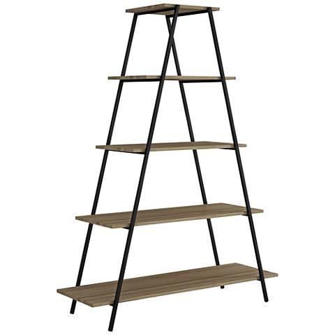 Ellis Dark Oak and Black Matte 5-Shelf Pyramid Bookcase