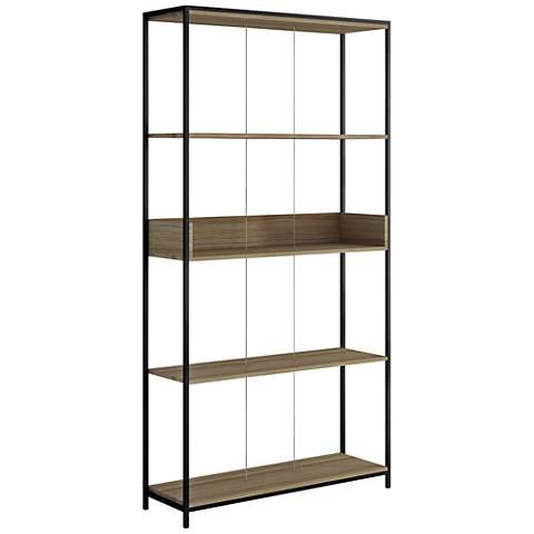 Ellis Dark Oak and Black Matte 4-Shelf Bookcase