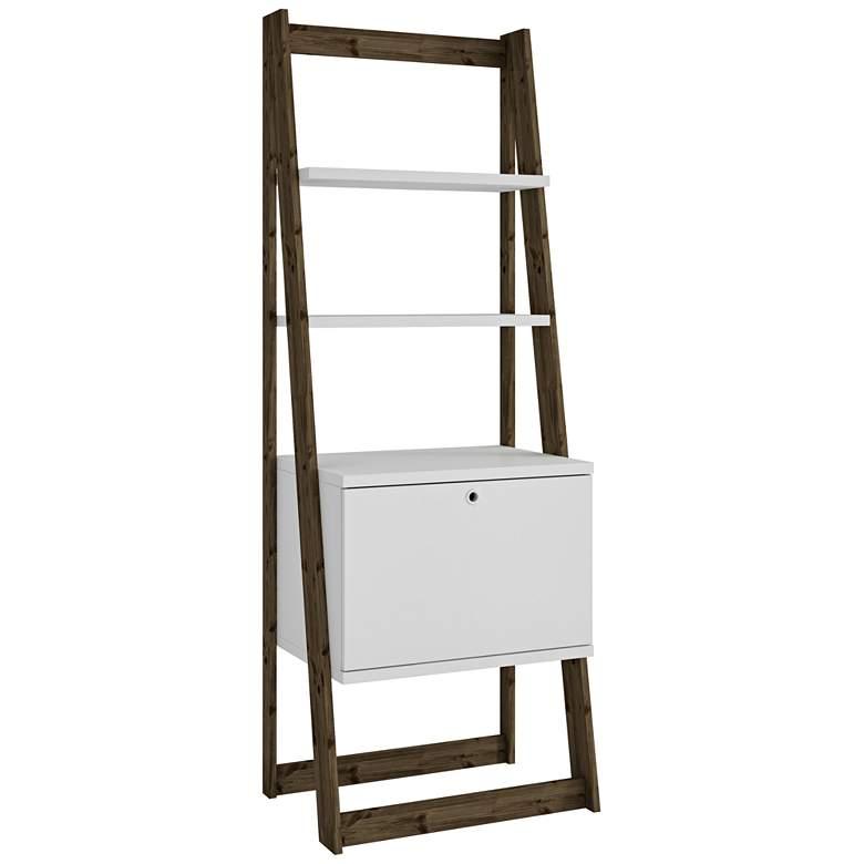 "Salvador 70 1/2"" High White and Oak Modern Ladder Bookcase"