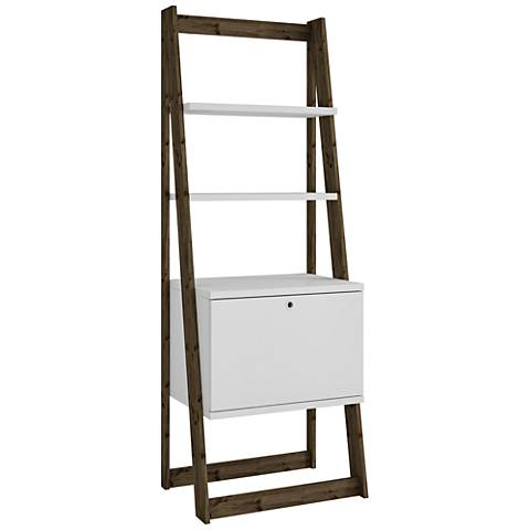 Salvador White Matte and Dark Oak 2-Shelf Ladder Bookcase